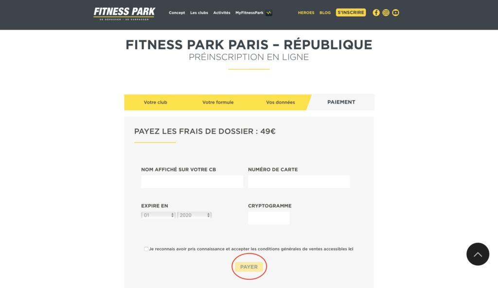 フィットネスパークのオンライン登録手順6