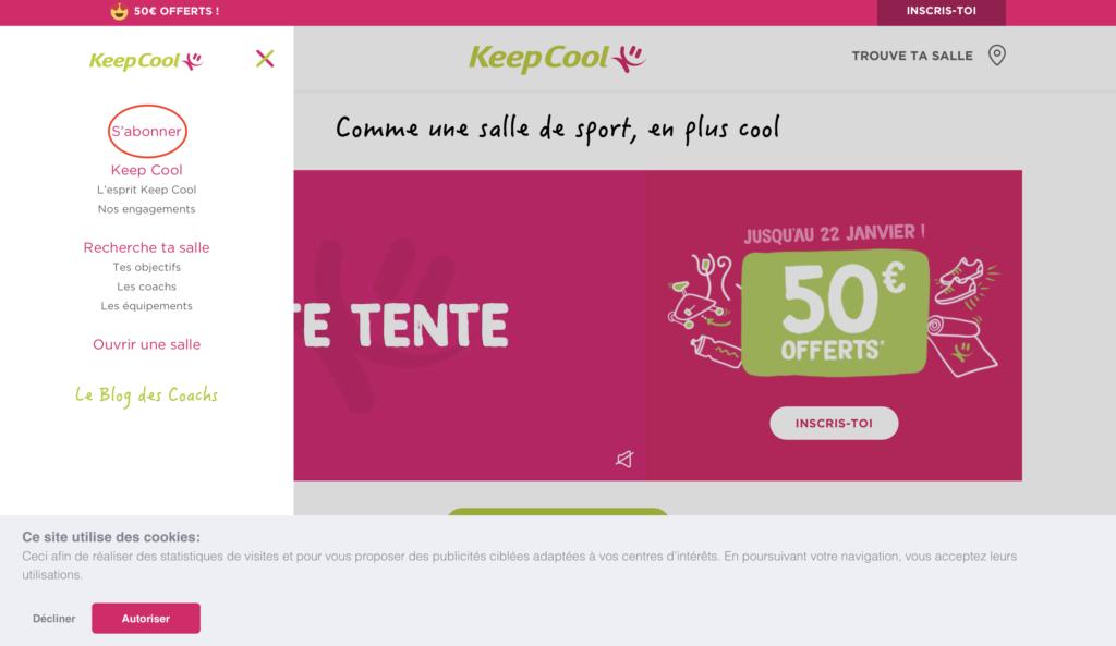 keepcoolのオンライン登録手順1